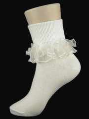 Ivory Ruffled Girl Socks