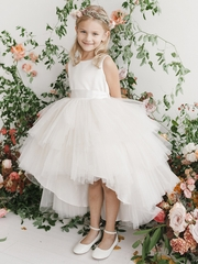 Ivory Ruffled Tulle High Low Dress