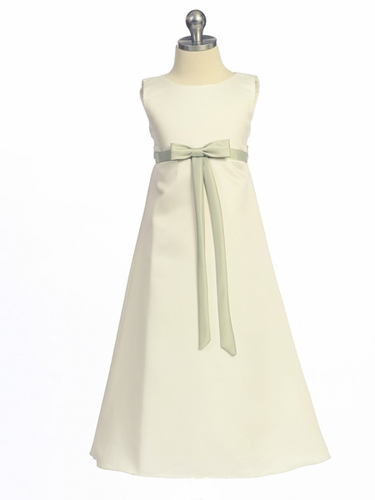 Sage Flower Girl Dress - Matte Satin A-Line Dress