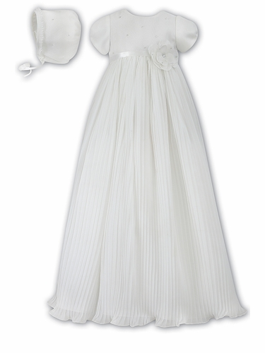 Ivory Sarah Louise Pleated Organza Christening Robe & Bonnet