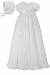 CLEARANCE - Ivory Sarah Louise Pleated Organza Christening Robe & Bonnet