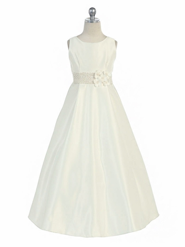 Ivory Satin A-Line Dress w/ Flowers & Beaded Waistline