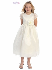 Ivory Satin Bodice Dress w/ Organza Cap Sleeves & Skirt