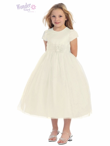 Ivory Satin Bodice Dress w/ Tulle Skirt
