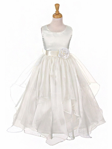 Ivory Satin Bodice Organza Layered Dress w/ Removable Sash & Flower
