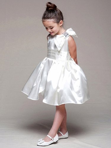 Ivory Satin Bodice Tulip Dress w/ Left Shoulder Bow