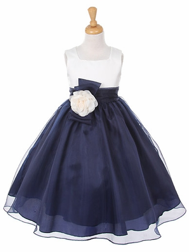 Navy Satin Bodice w/ Organza Skirt Dress