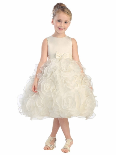 Ivory Satin Dress w/ 3D Flower Skirt