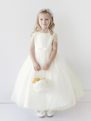 Ivory Satin Dress w/ Beaded & Pearled Sleeves