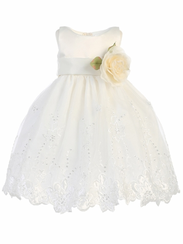 Ivory Satin & Embroidered Organza Dress w/  Sash & Flower