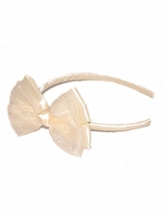 Ivory Satin Headband w/ Bow
