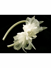 Ivory Satin Headband w/ Pearl Flower