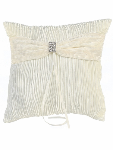 Ivory Satin & Lace Embroidered Ring Bearer Pillow