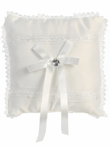 White Satin & Lace Embroidered Ring Bearer Pillow