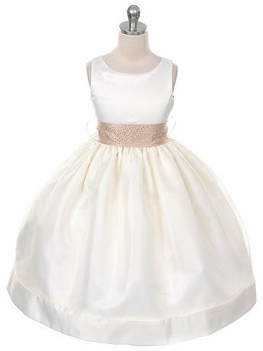 Ivory Satin Organza Dress w/ Rhinestone Sash