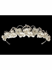 Ivory Satin & Organza Flower Headpiece