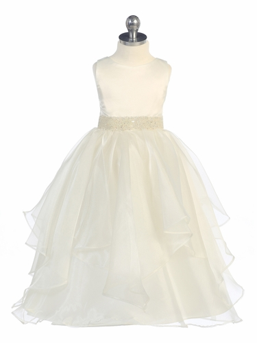 Ivory Satin & Organza Layered Dress