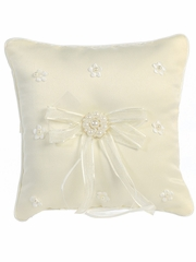 Ivory Satin & Pearl Flowers Ring Bearer Pillow