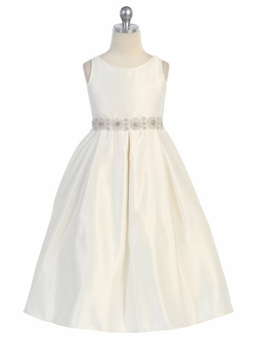 Ivory Satin Pleated Skirt w/ Rhinestone Beaded Waistline Dress