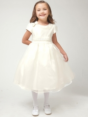 Ivory Satin Rhinestone Top w/Organza Skirt Dress