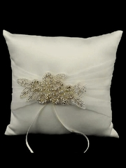 Ivory Satin Ring Bearer Pillow w/ Rhinestone Flower