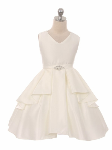 CLEARANCE - Ivory Satin Sleeveless V-Neck Dress w/ Ruffles