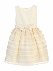 Ivory Satin & Striped Organza Skirt