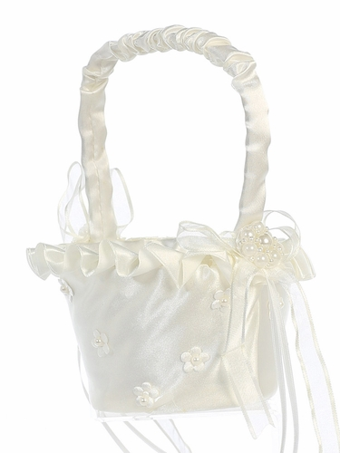 Ivory Satin Trim w/ Pearled Satin Flowers Basket