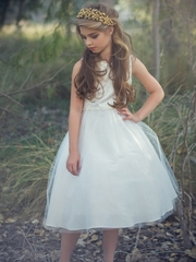Ivory Satin & Tulle Dress w/ Daisy Trim