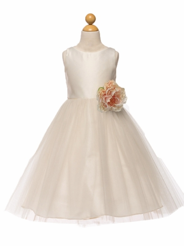 Ivory Satin & Tulle Dress w/ Flower