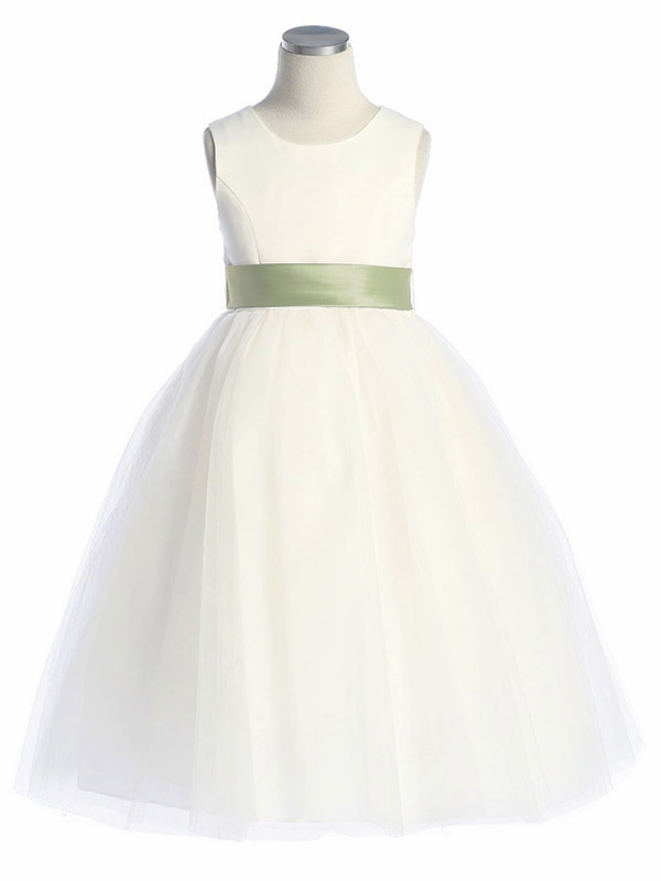 39fd38c12 ... Girl's Graduation Dresses > Ivory Satin Tulle Dress w/ Removable Sash.  Click to Enlarge ...