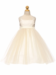 CLEARANCE - Ivory/Gold Satin & Tulle Dress w/ Sash