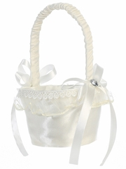 Ivory Satin w/ Organza Trim Basket