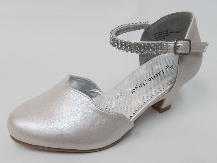 Ivory Scalloped Low Heel Girls Dress Shoe W Rhinestone Strap