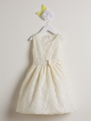 CLEARANCE - Ivory Sequin & Ribbon Embroidered Mesh Dress