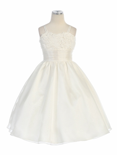 Ivory Sequins Embroidered Mesh Top w/Pleated Organza Skirt