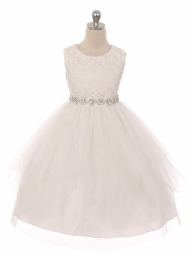 Good Girl 3573 Ivory Sleeveless Lace Contrast Double Tulle Dress w/ Bejeweled Waist