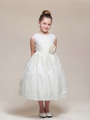 Ivory Spanish Lace Dress w/ Sash & Rose