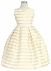 Ivory Stripe Organza Box Pleat Dress