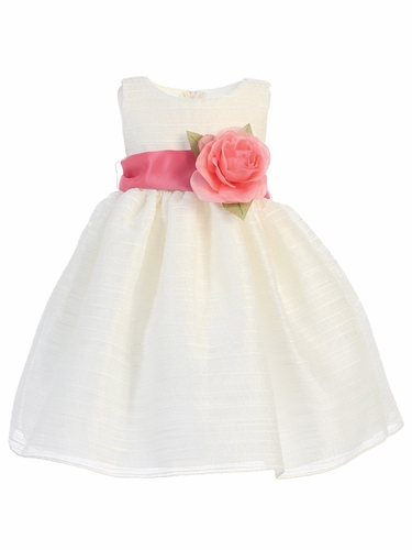 Ivory Striped Organza Dress w/ Sash & Flower