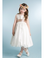 Ivory Taffeta Bubble Dress w/ Sequin Sash