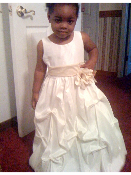 Taffeta Flower Girl White Dress