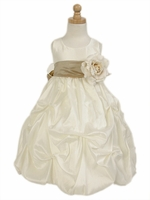Ivory Taffeta Bubble Pick-up Flower Girl Dress
