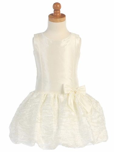 Ivory Taffeta Drop Waist Dress