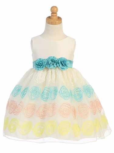 Ivory & Teal Shantung & Embroidered Organza Dress