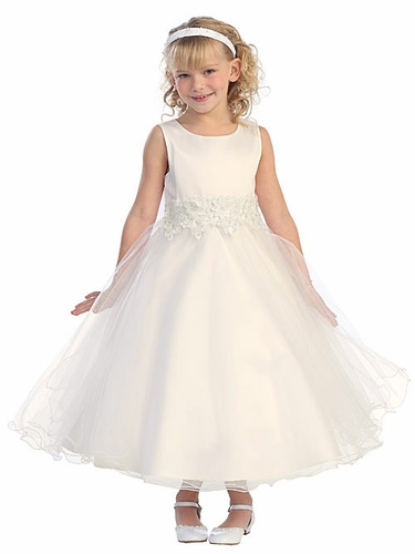 Ivory Tulle Dress w/ Flower Embellishment Waistline