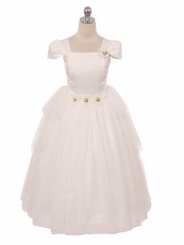 CLEARANCE - Ivory Tulle Overlay Princess Dress