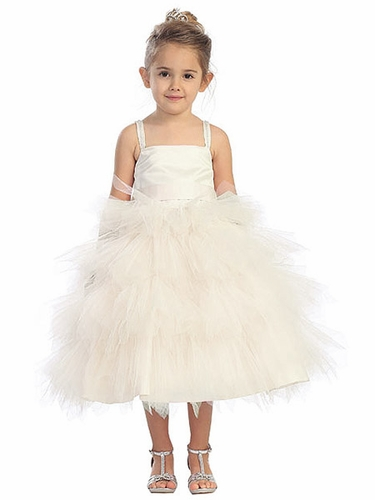 Ivory Tutu Tulle Dress w/ Detachable Sash