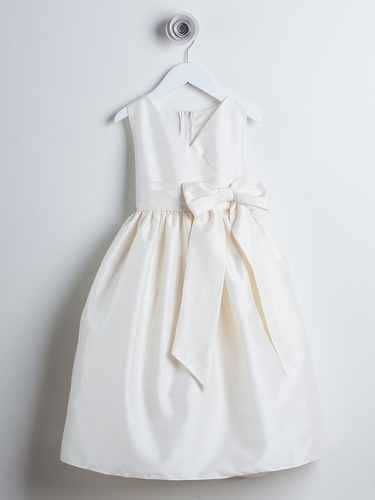Ivory V-Neck Poly Dupioni Dress w/ Bow