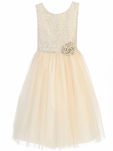 Ivory Vintage Jacquard Tulle Dress